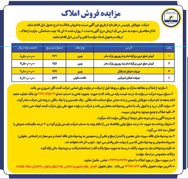 مزایده فروش املاک هور تابان پارمیس شرکت جهاد نصر کرمان